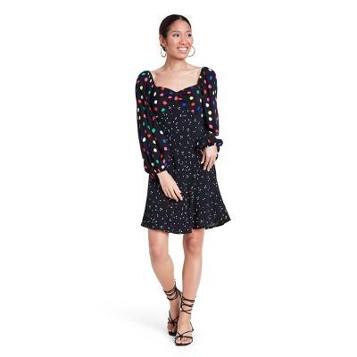 Polka Dot Long Sleeve Swing Dress - RIXO for Target Black