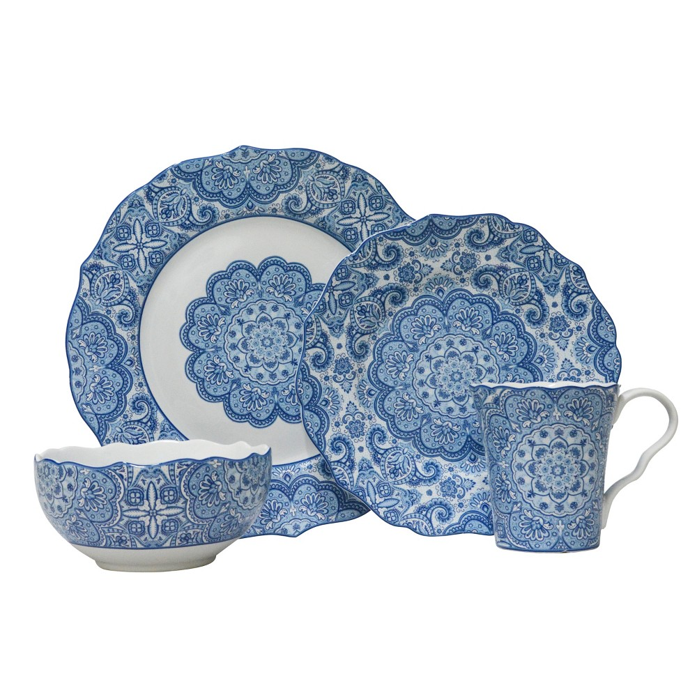 Image of 222 Fifth Lyria Porcelain 16pc Dinnerware Set Blue
