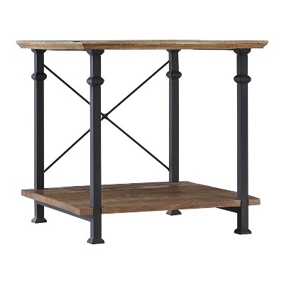 Homelegance Factory Collection Wood and Metal Rustic Modern Corner Side Stand End Table Table for Living Room, Black