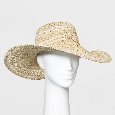Women's Crocheted Floppy Hats - A New Day™ Natural One Size