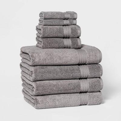 8pc Bath Towel Set Light Gray - Threshold Signature™
