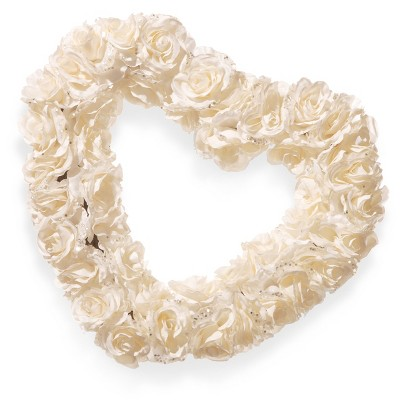 "17"" White Rose Heart Wreath - National Tree Company"