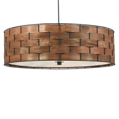 Kenroy Home Dark Woven Wood Finish Shaker 3 Light Pendant - image 1 of 2