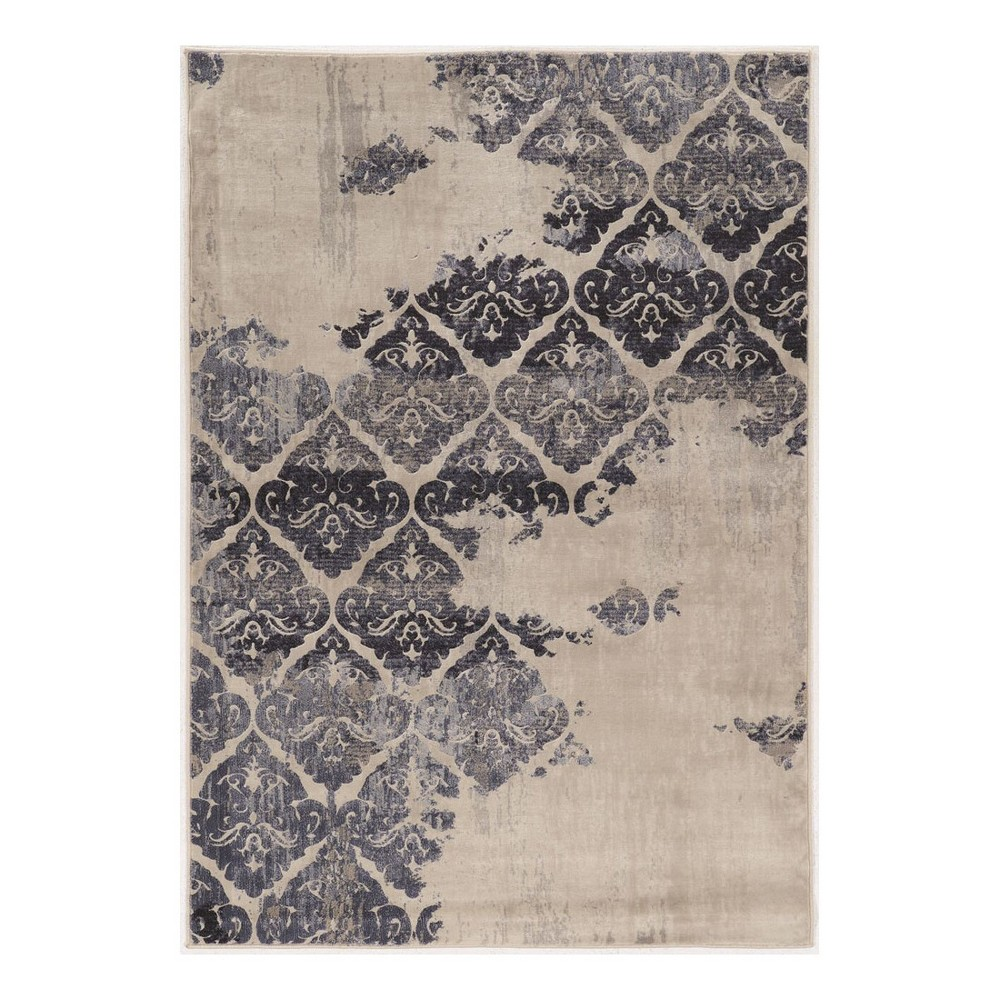 Gray Damask Loomed Area Rug 5'X7'6 - Linon, Blue Off-White