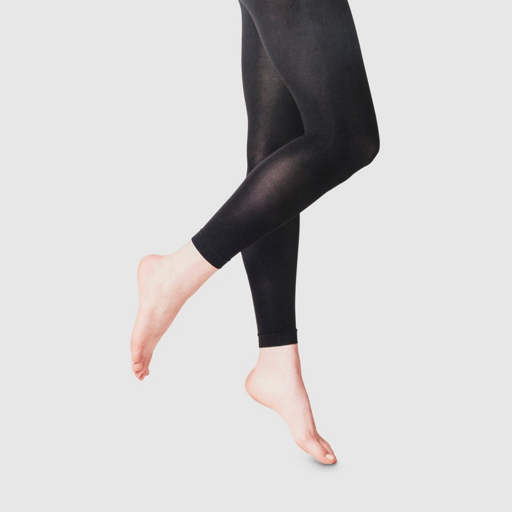 Women's 50D Footless Opaque Tights - A New Day Black M/L