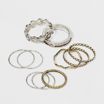 Open Work and Thin Delicate Ring Set 10pc - Universal Thread™