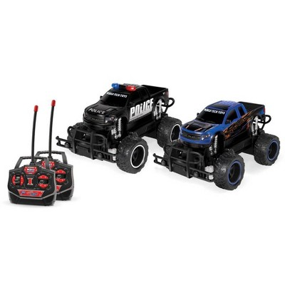 World Tech Toys Ford F-150 SVT Raptor Police Pursuit RTR Electric RC Monster Truck - 1:24 Scale - Double Pack