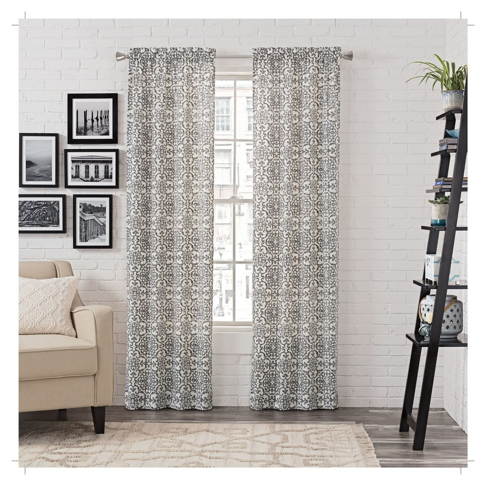"Image of ""2pk Brockwell Curtain Panel Pair Medallion Gray (28""""x95"""") - Pairs To Go"""