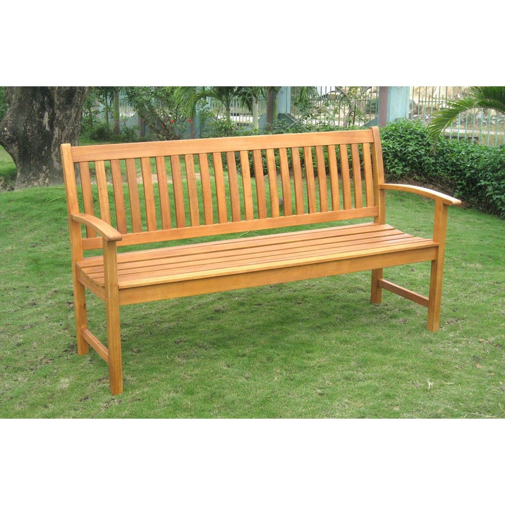 International Caravan Royal Tahiti Shorea Wood 67 Wood 3-Seat Patio Bench