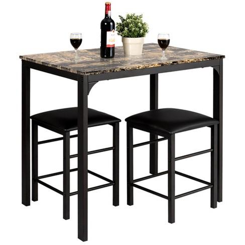Costway 3 Pcs Counter Height Dining Set, Kitchen Bar Furniture