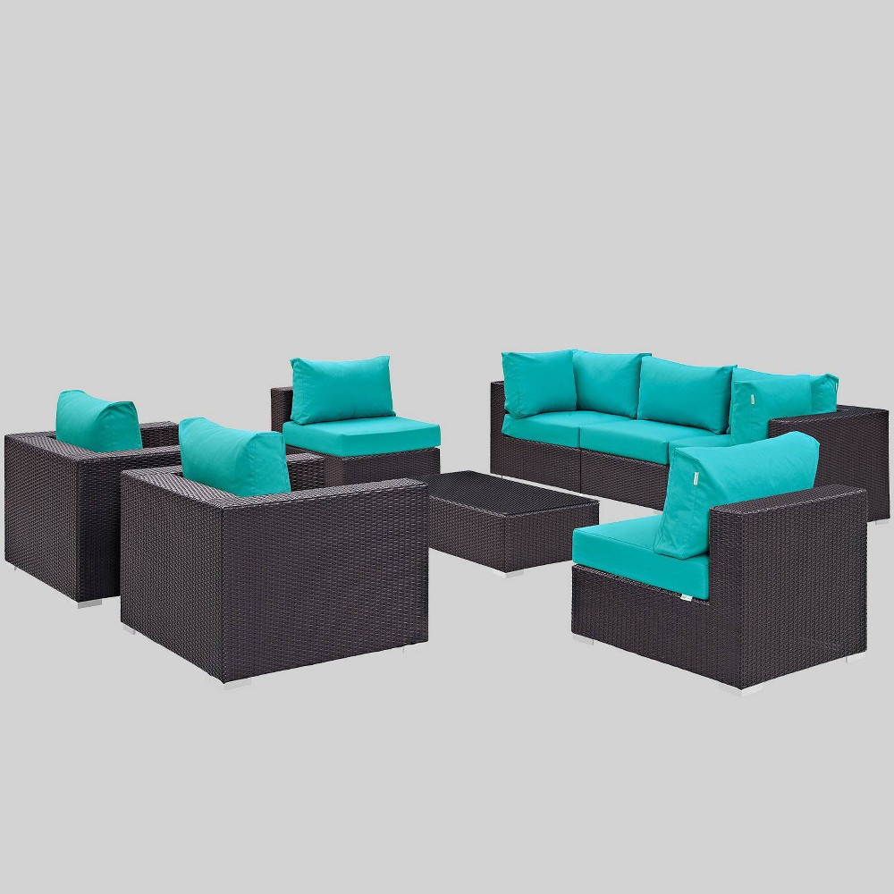 Convene 8pc Outdoor Patio Sectional Set - Turquoise - Modway