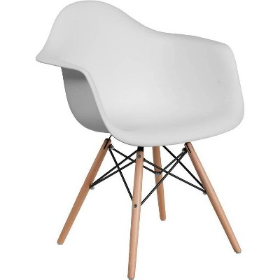 Alonza Series Plastic Chair with Arms and Wooden Legs - Riverstone Furniture Collection