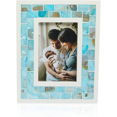 Okuna Outpost Blue Seashell Beach Picture Frame for 4 x 6 Inch Photos (10 x 8.6 x 0.43 in)