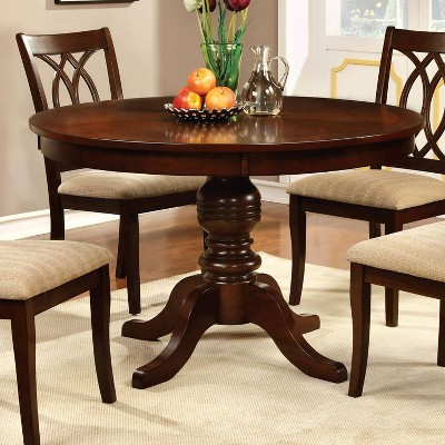 Round Table Top With Pedestal Dining Table Wood/Brown Cherry   Furniture Of  America