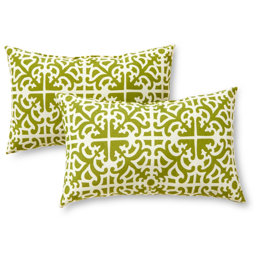 Image of Greendale Home Fashions Set of 2 Rectangle Outdoor Accent Pillows - Grass (Green)