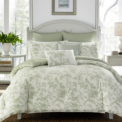 Green Natalie Comforter Set (Full/Queen)- Laura Ashley