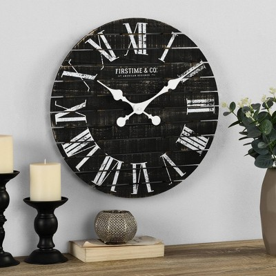 "18"" Nightfall Shiplap Wall Clock Charcoal - FirsTime"
