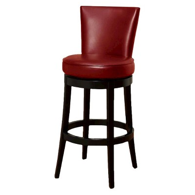 "Boston Swivel Leather 26"" Counter Height Barstool Hardwood/Red - Armen Living"