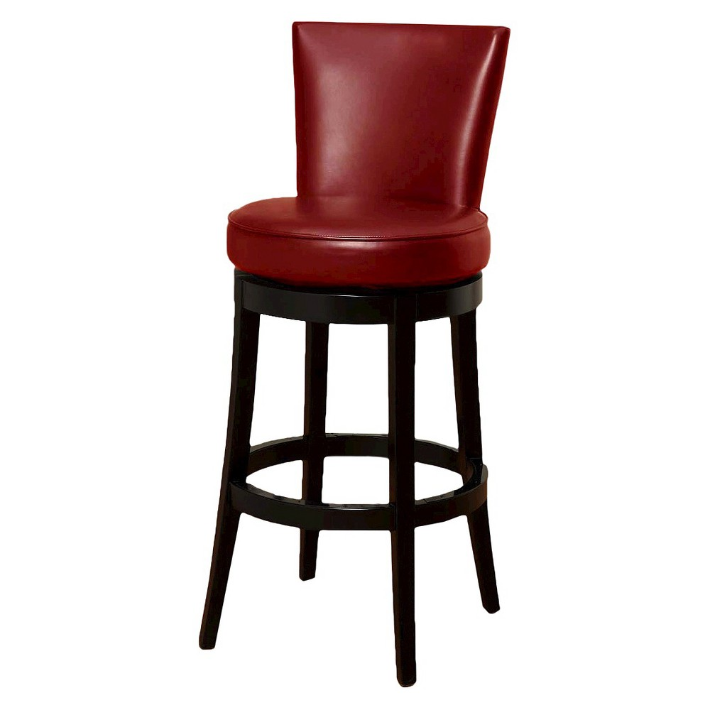 Boston Swivel Leather 26 Counter Height Barstool Hardwood/Red - Armen Living Compare