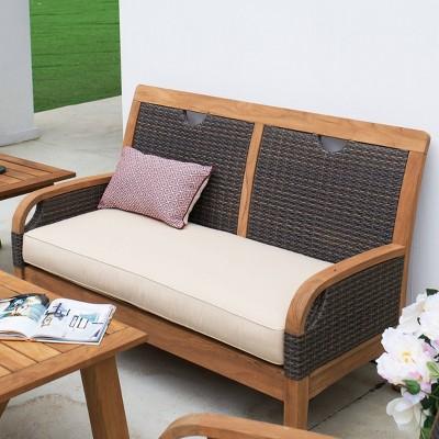 Palma Teak Patio Loveseat with Cushion - Cambridge Casual
