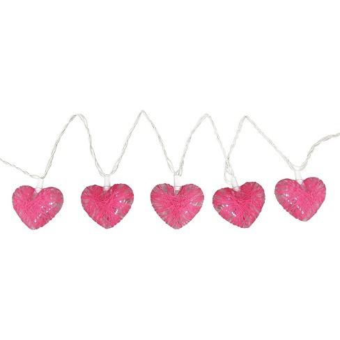 11 Heart Pink Fabric String Lights Room Essentials