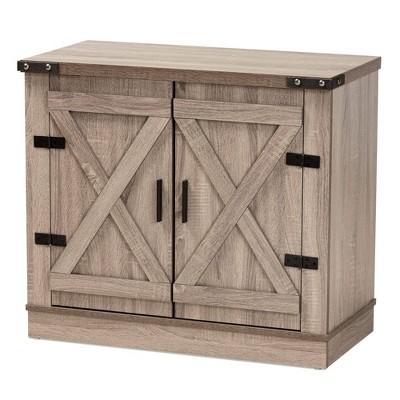 Wayne Farmhouse Wood 2 Doors Shoe Storage Cabinet Oak Brown - Baxton Studio
