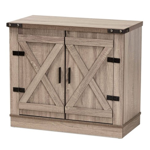 Wayne Farmhouse Wood 2 Doors Shoe Storage Cabinet Oak Brown - Baxton Studio - image 1 of 4