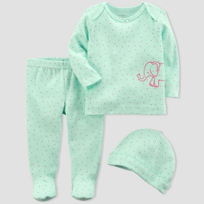 Baby Girls' 3pc Elephant Set - little planet™ organic by carter's® Mint 3M