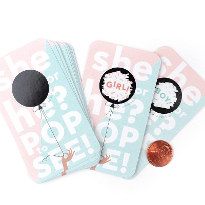 Scratch Off Gender Reveal Girl Balloon Cards