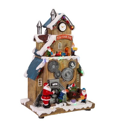 """Kurt Adler 12"""" Battery-Operated LED Santa's Workshop with Turning Train Table Piece"""