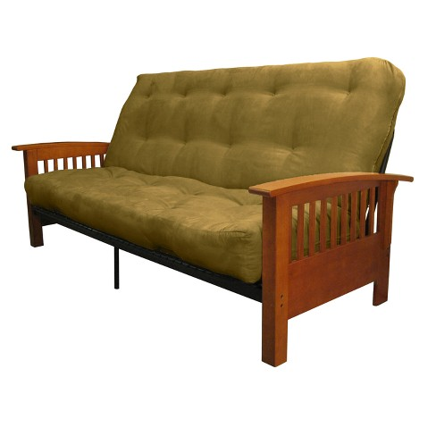 Craftsman 8 Cotton Foam Futon Sofa Sleeper Medium Oak Wood Finish Epic Furnishings