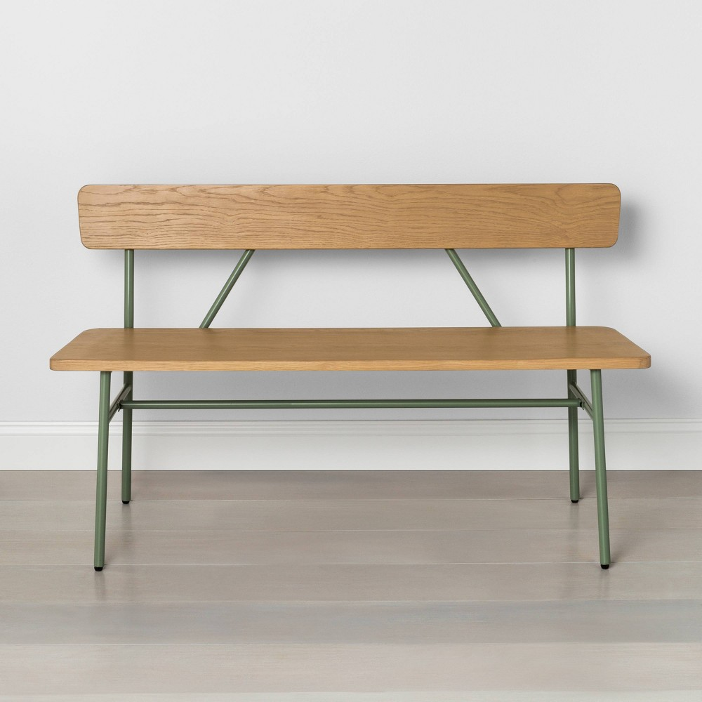 Image of Metal & Wood Accent Bench Green - Hearth & Hand with Magnolia