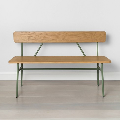 Wood & Steel Accent Bench - Hearth & Hand™ with Magnolia - image 1 of 4