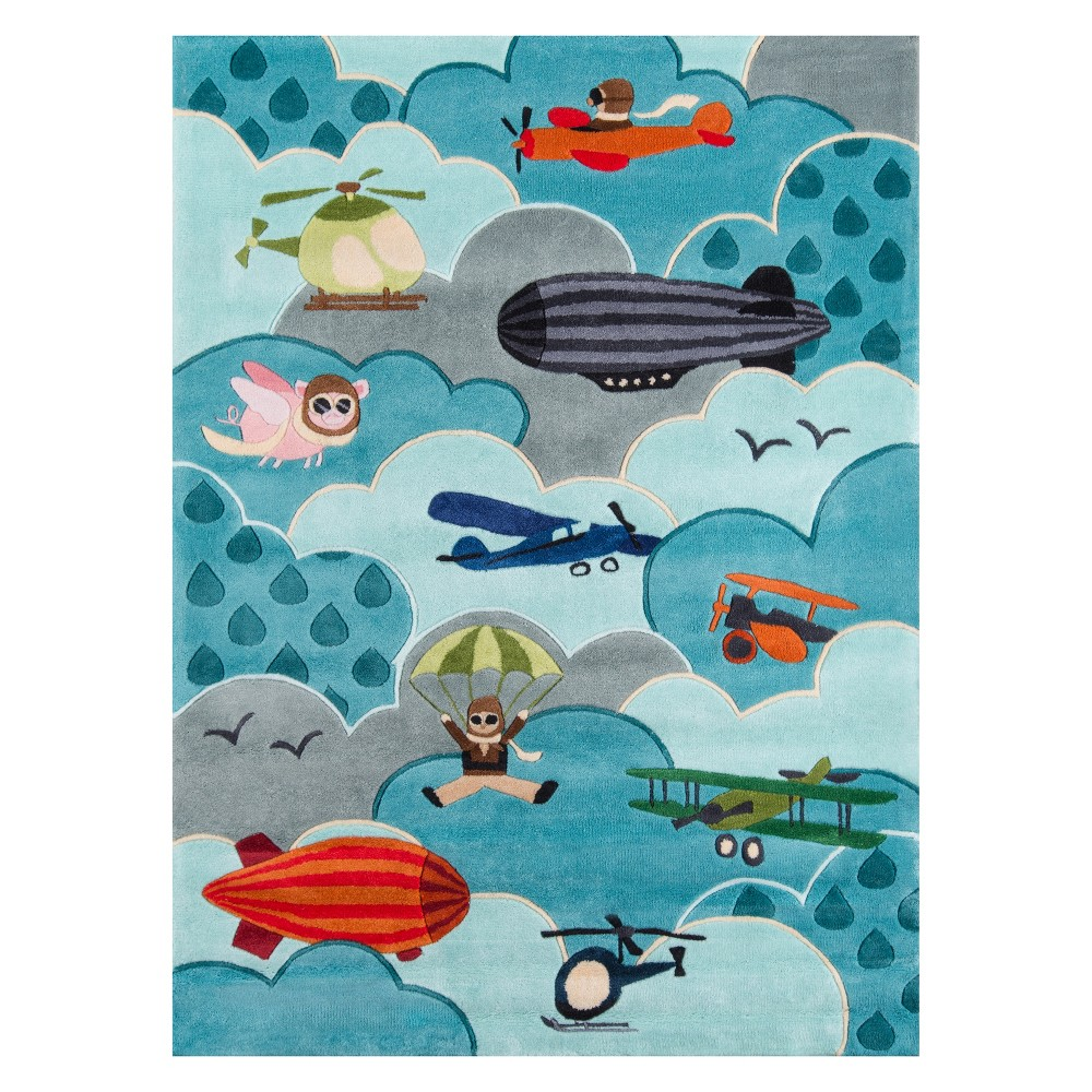 4'X6' Airplane Tufted Area Rug Sky - Momeni, Blue