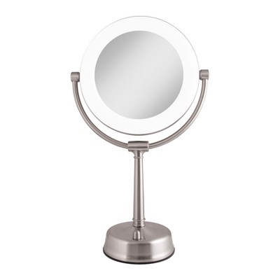Zadro Fluorescent Lighted Mirror, Adjustable, Infinity Dimmer, 10X / 1X Power - Satin Nickel