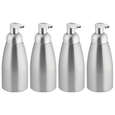 mDesign Aluminum Kitchen Foaming Soap Pump, Rustproof, 4 Pack - Brushed/Silver