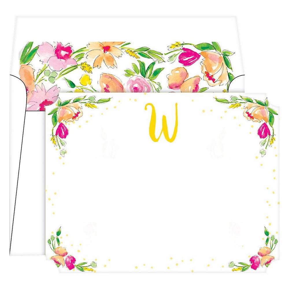 Die-Cut Social Set Floral Crest Monogram - W, Multicolored