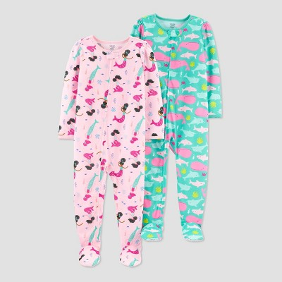 Baby Girls' Mermaid Whale Footed Pajama - Just One You® made by carter's Pink 12M