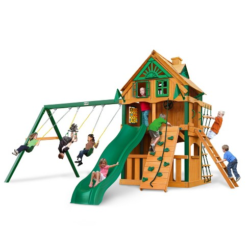 Gorilla Playsets Chateau Clubhouse Treehouse Swing Set with Fort Add-On & Timber Shield - image 1 of 3