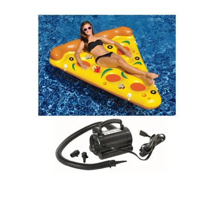 NEW Swimline 90645 Pool Inflatable Pizza Slice Float Raft Water w/ 110V Air Pump