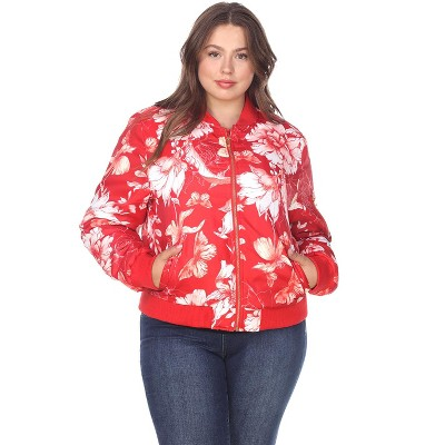 Women's Plus Size Floral Bomber Jacket - White Mark