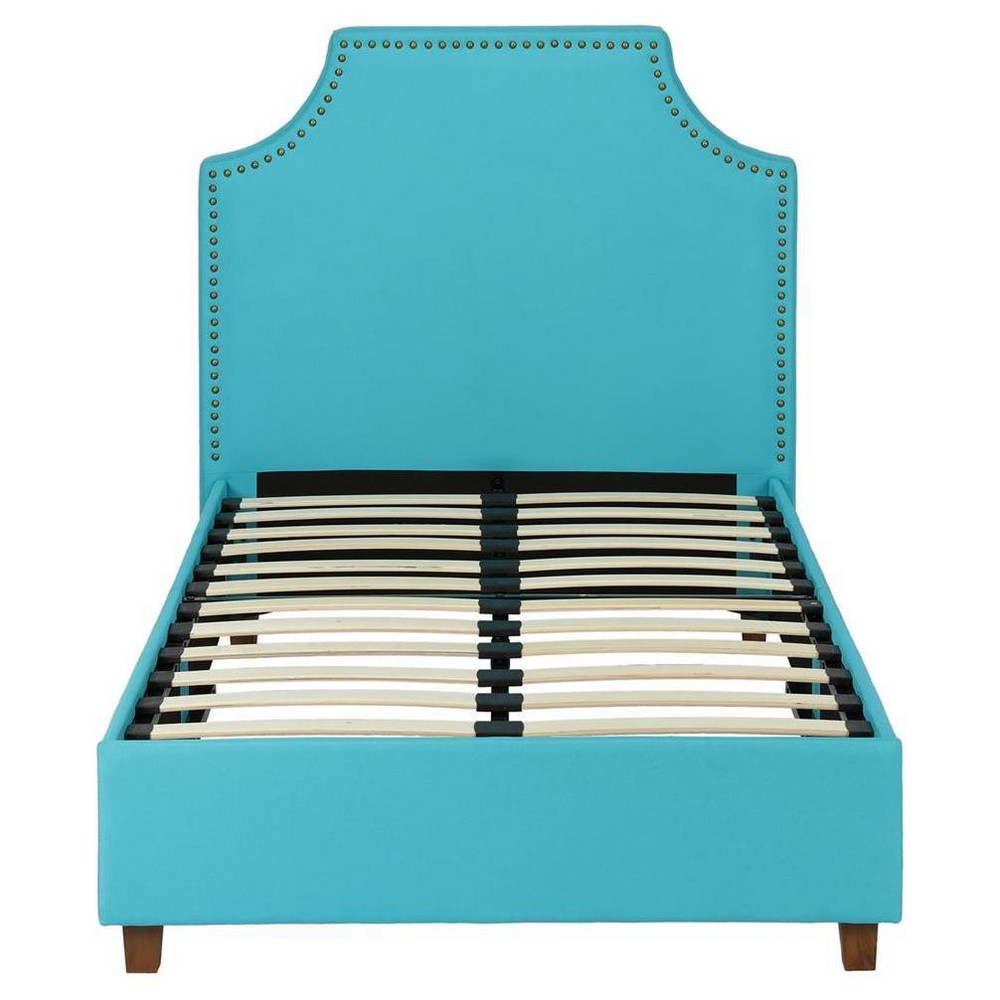 Magnolia Upholstered Bed (Twin) Teal (Blue) - Room & Joy