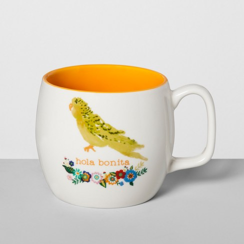 Porcelain Hola Bonita Parrot Mug 16oz White/Orange - Opalhouse™ - image 1 of 1