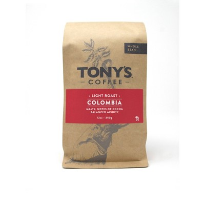 Tony's Coffee Colombia Supremo Medium Roast Whole Bean Coffee - 12oz