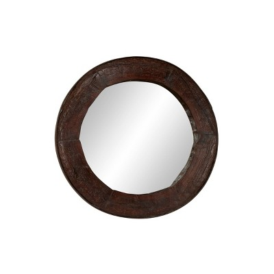 """42"""" Round Large Wall Mirror Modeled After Reclaimed Wood Ox Cart Wheel - Olivia & May"""