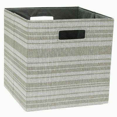 "13"" Cube Storage Bin Tan Stripe - Threshold™"