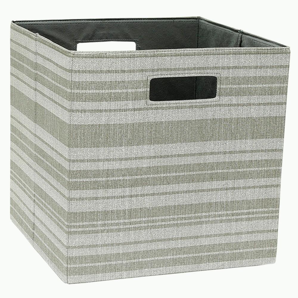 "Image of ""Cube Storage Bin Tan Stripe 13"""" - Threshold"""