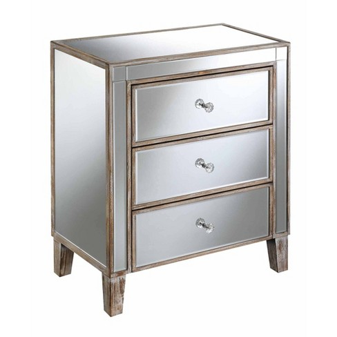 Gold Coast Large 3 Drawer Mirrored End, Target Mirror Table With Drawer
