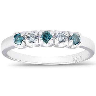 Pompeii3 1/4ct Treated Blue & White Diamond 5-Stone Wedding Womens Ring 10K White Gold