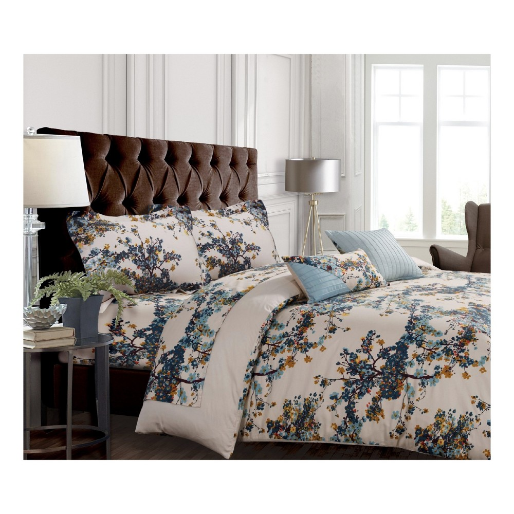 Casablanca 300tc Cotton Sateen Floral Printed Oversize Duvet Cover Set (Queen) 5pc - Tribeca Living, Multicolored